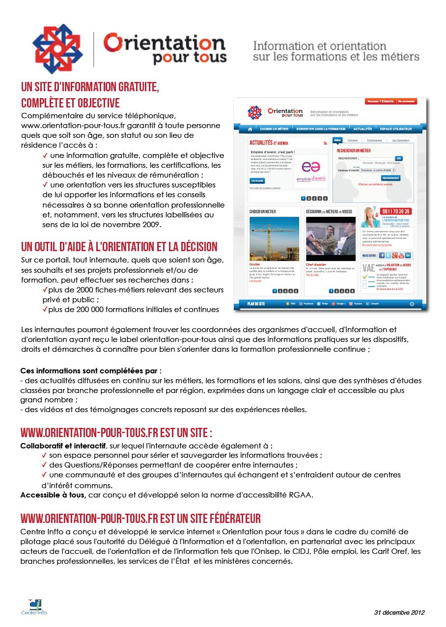 Présentation de Orientation Pour Tous, site du Gouvernement pour la formation professionnelle et la reconversion professionnelle